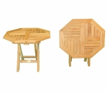 "Teak 20"" Octogonal Folding Side Table - Out of Stock til Apr"