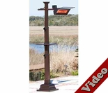 1500 Watt Hammer Tone Bronze Mission Design Pole Mounted Infrared Patio Heater with Table