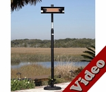 1500 Watt Black Steel Straight Pole-Mounted Infrared Patio Heater