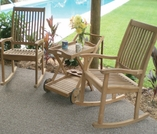 Comfort Back Teak Rockers and Tray Cart Set