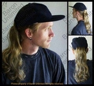 Grey Human Hair Ponytail on a Baseball cap