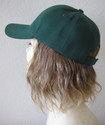 "100% human hair 9"" long attached to baseball cap hat"
