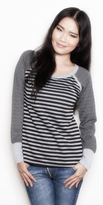 New! Striped Scoop Neck Henley Nursing Top