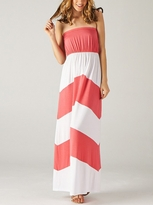Coral Color Block Maternity Maxi Dress