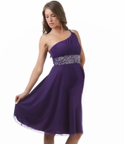 NEW! Beautiful Kendra One Shoulder Embellished Maternity Dress