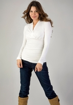 New! Megan Ruched Long Sleeve Maternity Top - Winter White