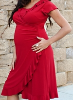 Stylish Flutter Sleeve Wrap Maternity/Nursing Dress