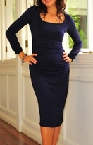 Valencia Prussian Blue L/S Maternity Nursing Dress - more colors!