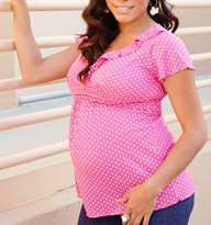 Chic Ruffle & Dot Maternity/Nursing Top