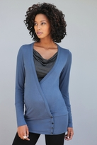 NEW! Mayreau Maternity/Nursing Crossover Black Button Tunic