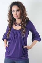 Jenna Bamboo Bubble Nursing Top - Eggplant