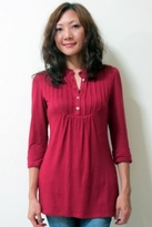 Pleated Tunic 3/4 Sleeve Maternity / Nursing Top