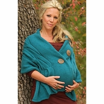 Cable Knit Coconut Button Maternity Sweater Shawl