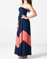 NEW! Stylish Lace Chevron Tube Maternity Maxi Dress