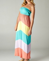 Piper Multi Color Block Maternity Maxi Dress