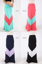 NEW! Chic Color Block Maternity Maxi Skirt