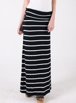 NEW! Cute Striped Long Fold Over Maternity Skirt