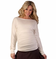 Tayla Ruched Long Sleeve Maternity Top - Champagne