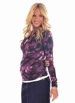 New! Stylish Print Karen Maternity Top - Lilac Maternity