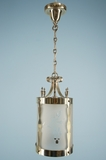Silver plated entry lantern with engraved glass cylinder <NOBR>(ca. 1930s)</NOBR>