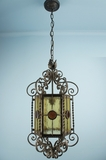 Wought iron and stained glass Italian lantern <NOBR>(ca. 1930s)</NOBR>