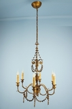 PAIR 6-candle Italian gilt leaf chandeliers <NOBR>(ca. 1930s)</NOBR>