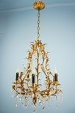 5-candle Italian crystal leaf chandelier <NOBR>(ca. 1940s)</NOBR>