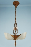3-light Deco slip-shade chandelier <NOBR>(ca. 1930s)</NOBR>