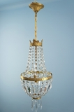 Cast brass crystal basket chandelier <NOBR>(ca. 1940s)</NOBR>
