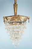 Silver plated inverted wedding cake crystal chandelier <NOBR>(ca. 1910s)</NOBR>