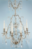 9-candle nickel plated crystal chandelier <NOBR>(ca. 1930s)</NOBR>