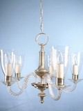 5-candle silver plate chandelier with cut glass shades <NOBR>(ca. 1930s)</NOBR>