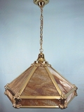 3-light polished brass slag glass chandelier <NOBR>(ca. 1910s)</NOBR>