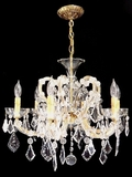 6-candle Italian cut crystal chandelier <NOBR>(ca. 1940s)</NOBR>