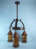 Arts & Crafts wrought iron/copper 3-light chandelier <NOBR>(ca. 1920s)</NOBR>