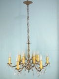 12-light (6 arm) Spanish cast brass and crystal chandelier <NOBR>(ca. 1950s)</NOBR>