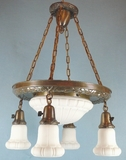 5-light brass chandelier with matching dome and shades <NOBR>(ca. 1920s)</NOBR>