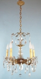 5-candle  brass & cut crystal chandelier <NOBR>(ca. 1930s)</NOBR>