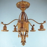 5-light polychrome cast-brass chandelier <NOBR>(ca. 1930s)</NOBR>