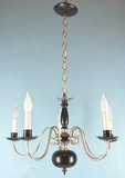 5 candle matte finish  Dutch style chandelier <NOBR>(ca. 1940s)</NOBR>