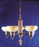 5-light Deco chandelier with custard shades <NOBR>(ca. 1930s)</NOBR>