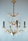 5-candle crystal chandelier <NOBR>(ca. 1920s)</NOBR>