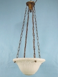 4-chain brass fixture with heavy inverted cast glass dome <NOBR>(ca. 1910s)</NOBR>