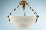 Cast glass inverted dome with brass fixture <NOBR>(ca. 1910s)</NOBR>