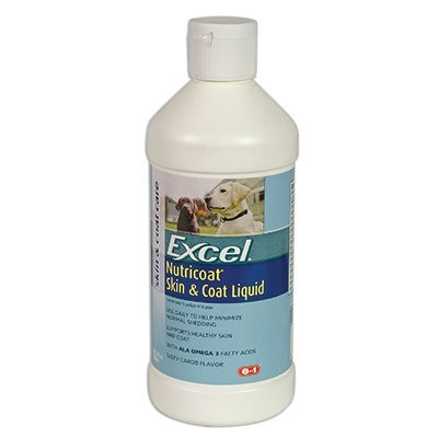Excel nutricoat liquid skin and coat is a veterinarian recommended supplement that minimizes normal shedding when