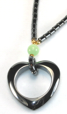 Hematite Necklace with Heart Pendant (Sold Out)