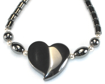 Hematite Necklace with Heart Pendant