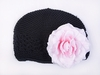 <center>Black Knit Beanie/Lt. Pink Rose</center>