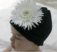 <center>Cream White Daisy/Black Hat</center>