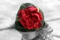 <center>Red Peony/Green Camo Hat</center>